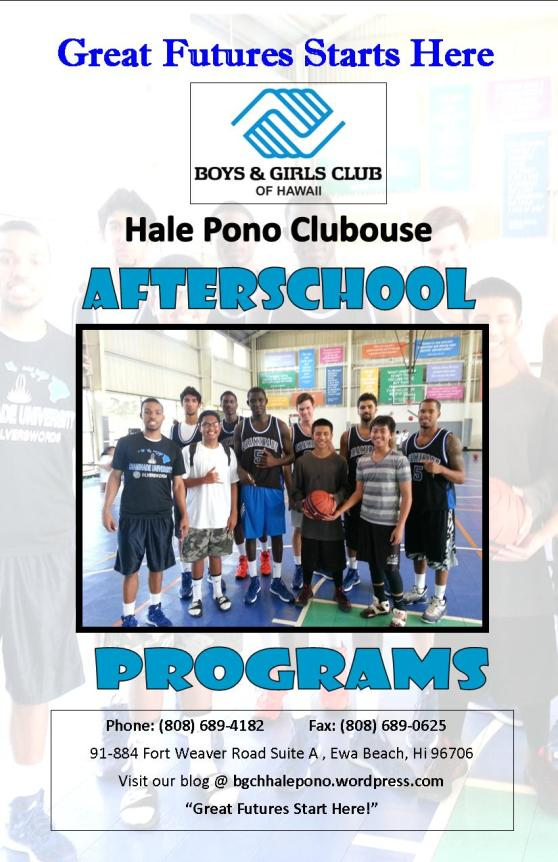 BGCH Hale Pono Afterschool Program Brochure 2013